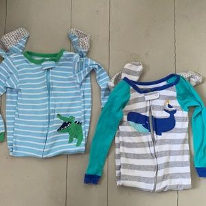 Carter's 3T Toddler Pajamas Striped Whale Blue